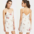 Women Summer V Neck Sleeveless Camisole Floral Short Slim Mini Dress Belts Club