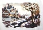 Winter Scene Shirt, Country Snow - Cottage, Horse & Carriage - Small - 5X
