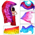 "1pc 2.7m*1.1m (9'x45"") 3-color 5 mommes belly dance silk veil, rolled edges+bag"