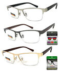 Multi Focus Progressive Reading Glasses 3 Powers in 1 Reader Rectangle Half Rim