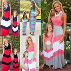 Mother and Daughter Casual Boho Stripe Maxi Dress Mommy&Me Matching Outfits US