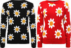 New Womens Big Daisy Floral Pattern Long Sleeve Top Ladies Knitted Jumper 8 - 14