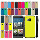 For HTC One M9 Solid Color Slim Fit Hard Back Cover Case + Pen