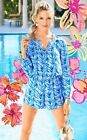 $188 Lilly Pulitzer Colby Long Sleeve Romper Lapis Blue COSTA VERDE XXSMLXL