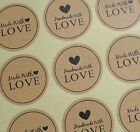 Round Paper Labels 'Hand made with love' Gift Food Kraft Craft Stickers (ST2)
