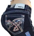 GRACE IN LA JEANS Mid Rise Easy Bootcut Dark Embroidered Jeans 27 28 30 31 32