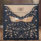 WISHMADE Wedding Invitations Cards Laser Cut Navy Blue Engagement Bridal Shower