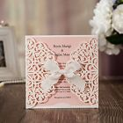 WISHMADE Wedding Invitation Cards Pink Laser Cut with Ribbon Envelopes Stickers