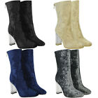 New Womens Ladies Clear Perspex Block Heel Calf Ankle Boots Zip Shoes Size UK