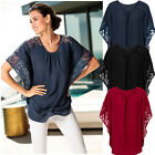 Women Summer Fashion Bat Sleeve Lace Stitching Chiffon Shirt