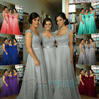 Long Chiffon Lace Evening Wedding Formal Gown Bridesmaid Prom Party Dress