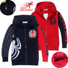 Spiderman Clothes Zip Hooded Sweatshirt Hoodie Jacket Casual Outfit Kid Boys Lot
