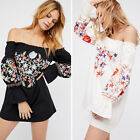 Chic Women Off Shoulder Vintage Embroidery Floral Boho Hippie Party Mini Dress