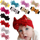 Cute Newborn Baby Toddler Girl Kid Big Sequins Bow Hair Band Turban Headband