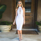 NEW Women Sleeveless Halter Bandge Bodycon Evening Party Club Tight Dress P6413