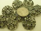 New Lot of Antique Silver Metal Buttons as a Flower w/ Glitter 1 1/16 & 7/8 (SI)