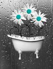 Teal Bathroom Home Decor Daisy Flowers In Bathtub Wall Art Matted Picture