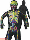 Boys Glow In The Dark Skeleton Costume Childs Teens Halloween Fancy Dress Outfit