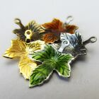 Autumn Maple Leaves Gold Bronze And Enamel Charms Mix CM6374 - 5, 10 Or 20PCs