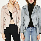 Women's New Long Sleeve Suede Leather Jacket Pink Light Blue Coat XS-L