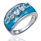 Unique Design White Topaz & Blue Mother of Pearl Solid 925 Sterling Silver Ring