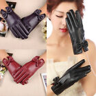 Womens Winter Warm Faux Leather Touch screen Gloves Mittens Bowknot New Charm