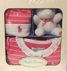 RALPH LAUREN baby girl infant $65 GIFT BOX SET lot COVERALL HAT BEAR Pink Polo