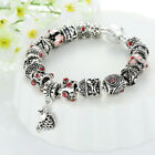 WOMENS925SILVER PLATING LADY DIAMOND CHARMS BEADED RACELET FASHION JEWELRY GIFTS