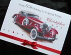 PERSONALISED Handmade Birthday Card CLASSIC MOTOR CAR 50th 60th 65th 80th (1586)