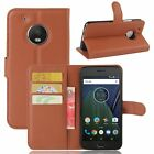 Kolorfish Flip Wallet PU Leather Corporate Case /Stand for Moto G5 -Brown