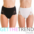 2 Pack Ladies Lace Comfort Maxi Briefs Womens Microfibre Knicker Underwear Pants