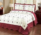 3 Pcs Polyester Bedspread Quilted High Quality Bed Cover Embroidery Quilt Cream  image