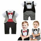 Baby Boy Wedding Christening Tuxedo Party Suit Romper Outfits Clothes One Piece