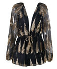 """""""Balmy"""" Black With Gold Feather Print Long Sleeved Playsuit Boutique 6-12 New"""