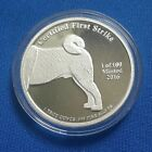 Rare 2016 1 troy oz 999 Fine Silver Akita Dog Proof Coin Round only 100 minted