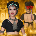 ATS Tribal Belly Dance Clothes Crop Top Choli Tops V neck Backless Gypsy Tribal