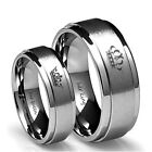 Titanium Crown Wedding Couple Ring Her King His Queen Stainless Steel Jewelry