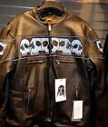Mens Motorcycle night glowing Reflective Skull Leather jacket zip out liner New