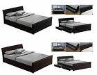Italian Designed 4 Drawer Storage Bed Frame in Finest Faux Leather Black/Brown