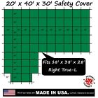20'x40'x30' Ratchet-Lock Safety Cover Tarp for 18'x38'x28' Right L-Shape Pool