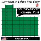 22'x42'x32' Ratchet-Lock Safety Cover Tarp for 20'x40'x30' Left L-Shape Pool