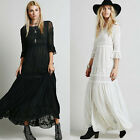 Women Embroidery Empire Waist Cotton Bohemia Hippie Party Engagement Maxi Dress