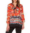 Rafaella Maraschino Orange Floral Woven Shirt w/Faux Leather Neckline, S