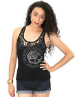 Harley-Davidson Ladies Lace Panel Willie G Skull Black Racer Back Tank Top
