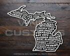 Michigan Mitten Cities Sticker Vinyl Decal