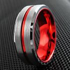 Natural Silver Tungsten Ring with Red Stripe Inner Band Mens