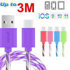 2-3meters Clear Crystal Data Sync Quick Charger Cable For Ipad4 Air 2 Mini 3/4