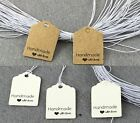 Craft Paper Tags 'Hand made with love' Gift Food Jewellery Wedding Christmas