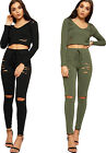 Womens Ripped Loungewear Set Ladies Crop Sweatshirt Top Jogging Bottoms Co-ord