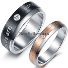 "Stainless Steel ""Words Are Unnecessary"" Engagement Wedding Band Womens Mens Ring"